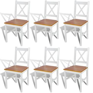 vidaXL Dining Chairs 6 pcs White Pinewood[1/5]