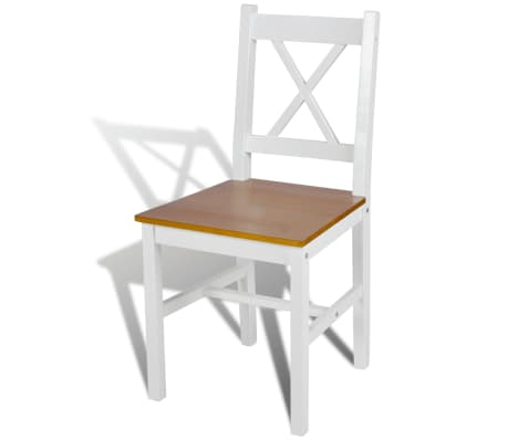vidaXL Dining Chairs 6 pcs White Pinewood[3/5]
