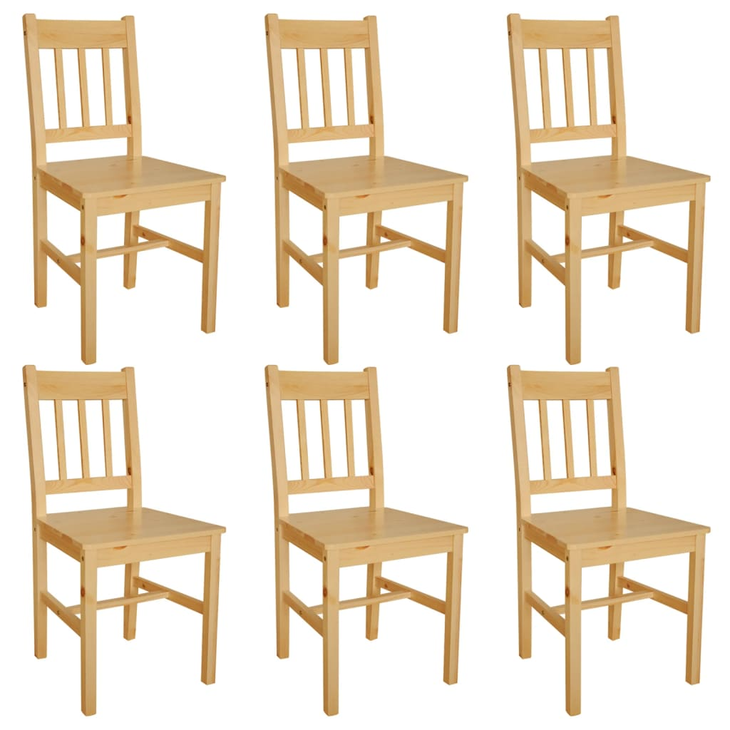 vidaXL Καρέκλες Τραπεζαρίας 6 τεμ. Φυσικό Χρώμα Ξύλινες