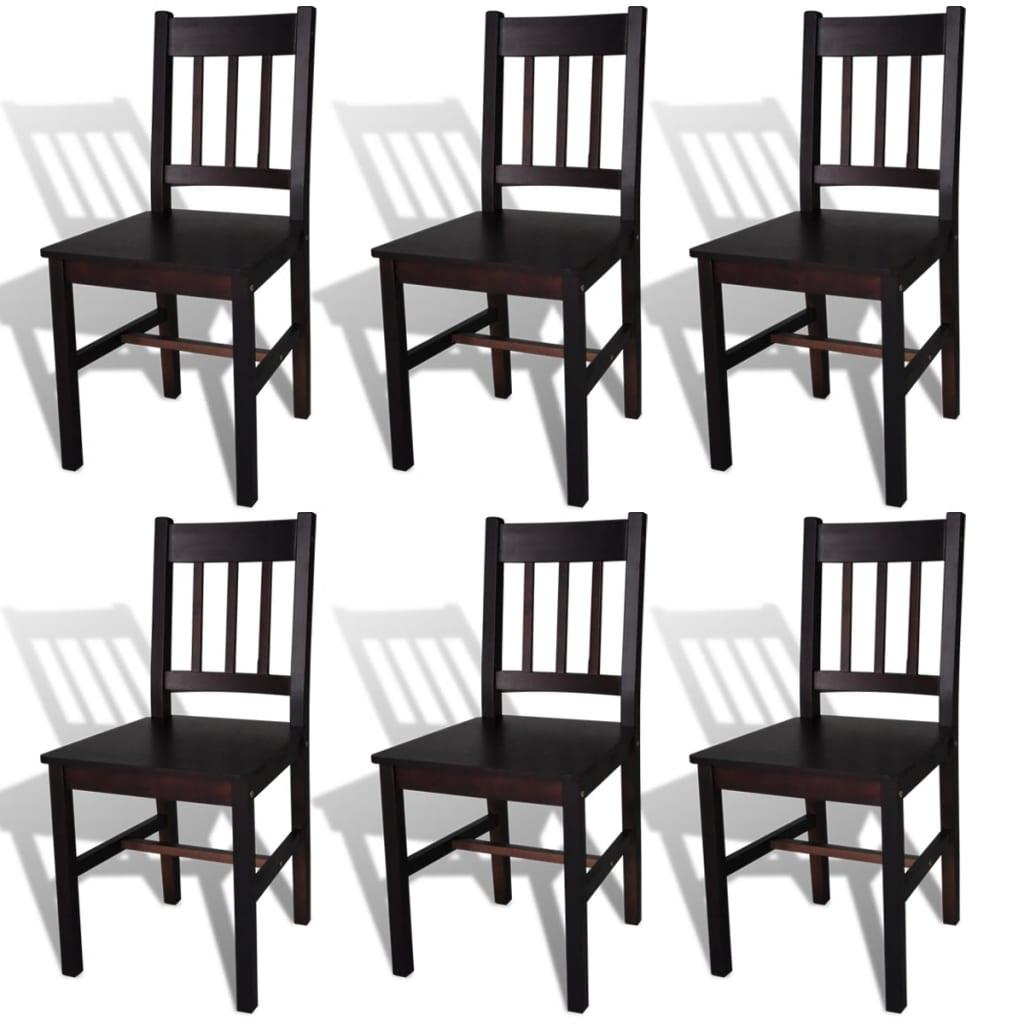 vidaXL Καρέκλες Τραπεζαρίας 6 τεμ. Σκούρο Καφέ από Ξύλο Πεύκου