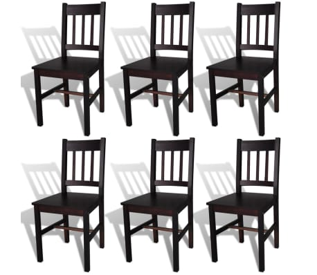 vidaXL Dining Chairs 6 pcs Dark Brown Pinewood