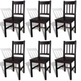 vidaXL Dining Chairs 6 pcs Brown Pinewood