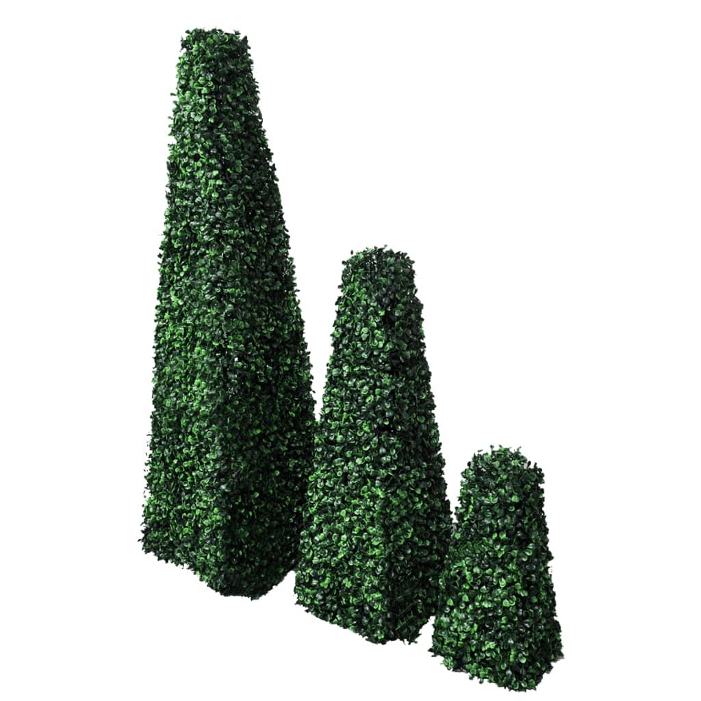 Set arbuști ornamentali artificiali piramidă pe tulpină, 3 buc. vidaxl.ro