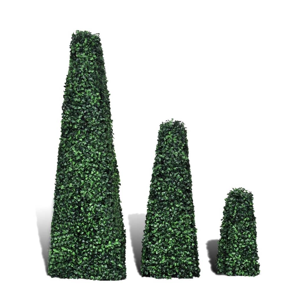3-delige Kunstbuxussenset piramidevormig