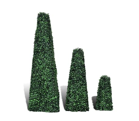 Set of 3 Artificial Boxwood Pyramid Topiary[2/4]