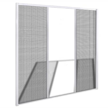 "White Sliding Insect Screen for Double Doors 84.6""x84.6""[2/11]"