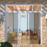White Sliding Insect Screen for Double Doors 215 x 215 cm