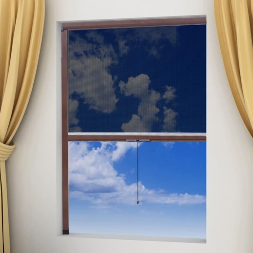 Hnědá stahovací síť proti hmyzu na okna 60 x 150 cm