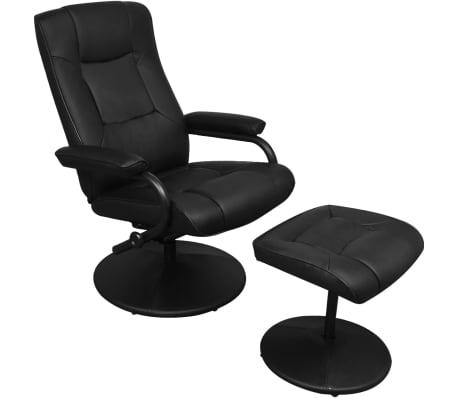 acheter vidaxl fauteuil avec repose pied cuir synth tique noir pas cher. Black Bedroom Furniture Sets. Home Design Ideas