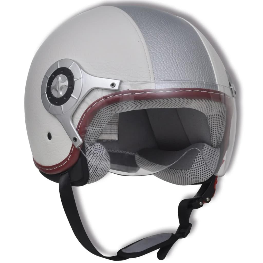 Cască de scuter din piele, mărimea L, alb & argintiu imagine vidaxl.ro