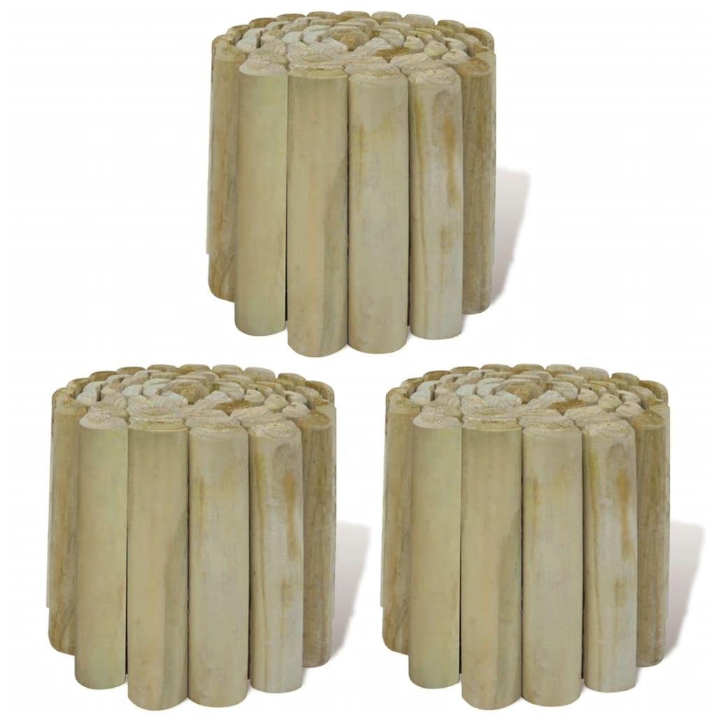 vidaXL Role din bușteni pentru gazon, 3 buc., 250 x 20 cm, lemn imagine vidaxl.ro