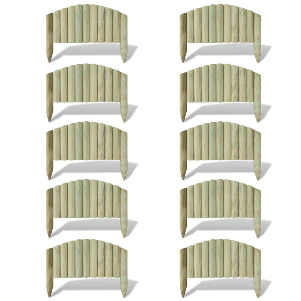 Afbeelding van vidaXL Gazonpanelen gebogen 55 cm FSC hout 10 st