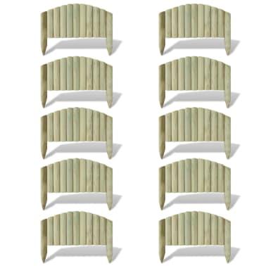 vidaXL Palizzata Recinzione da Giardino 10 pz Legno FSC 55 cm ad Arco[1/2]