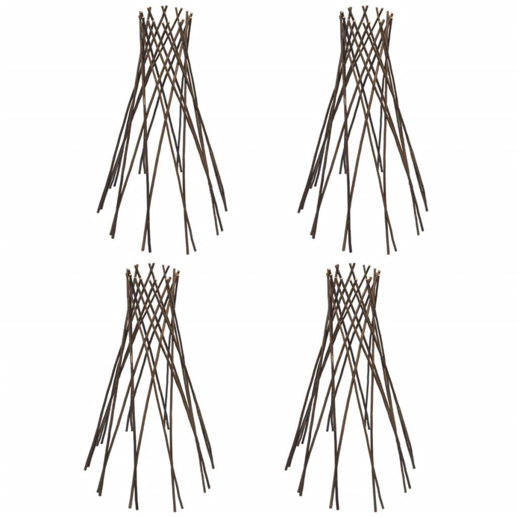 Set 4 suporturi în formă de pâlnie cu zăbrele din salcie 90 cm vidaxl.ro