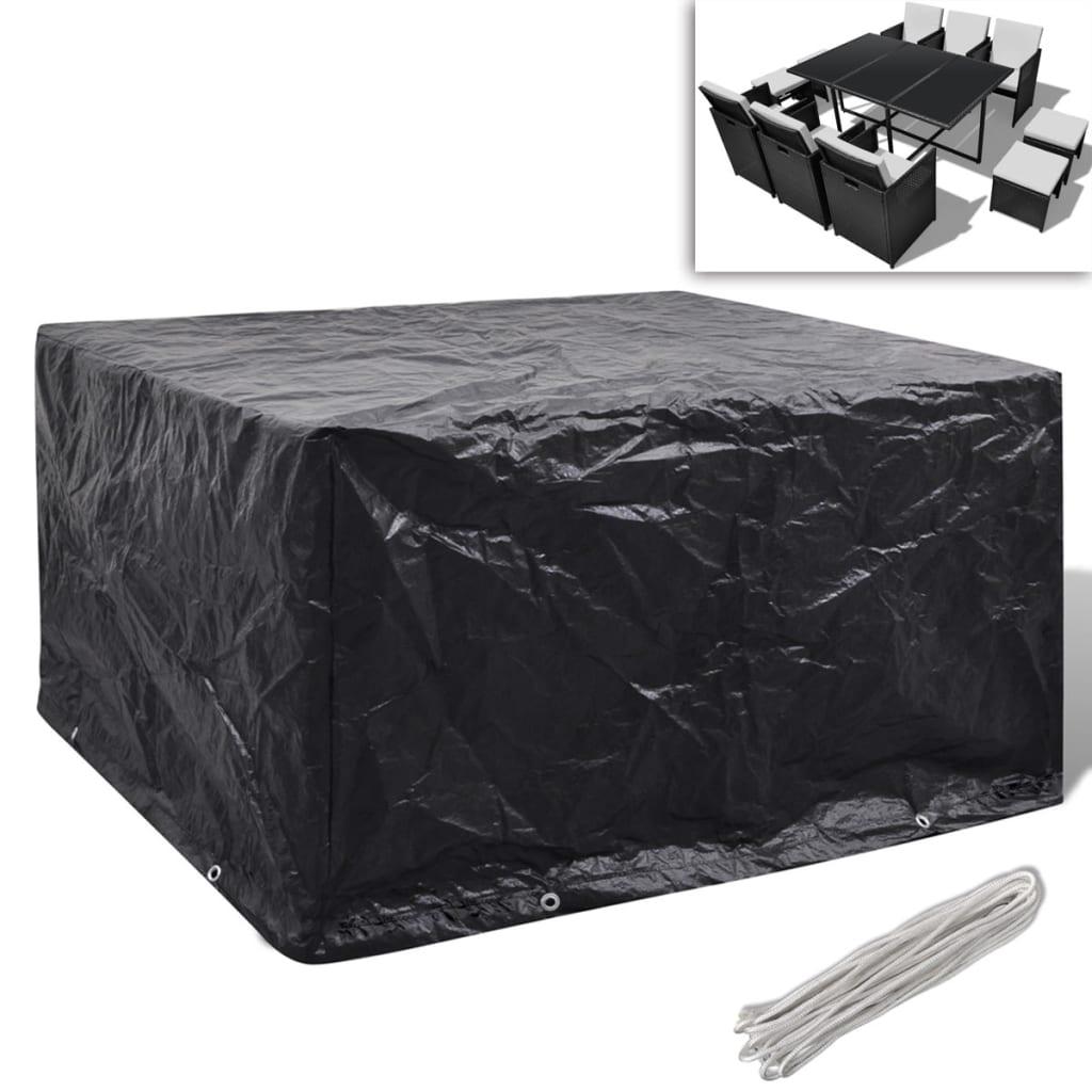 Kryt na set polyratanového nábytku pro 6 osob, 10 oček, 172 x 113 cm