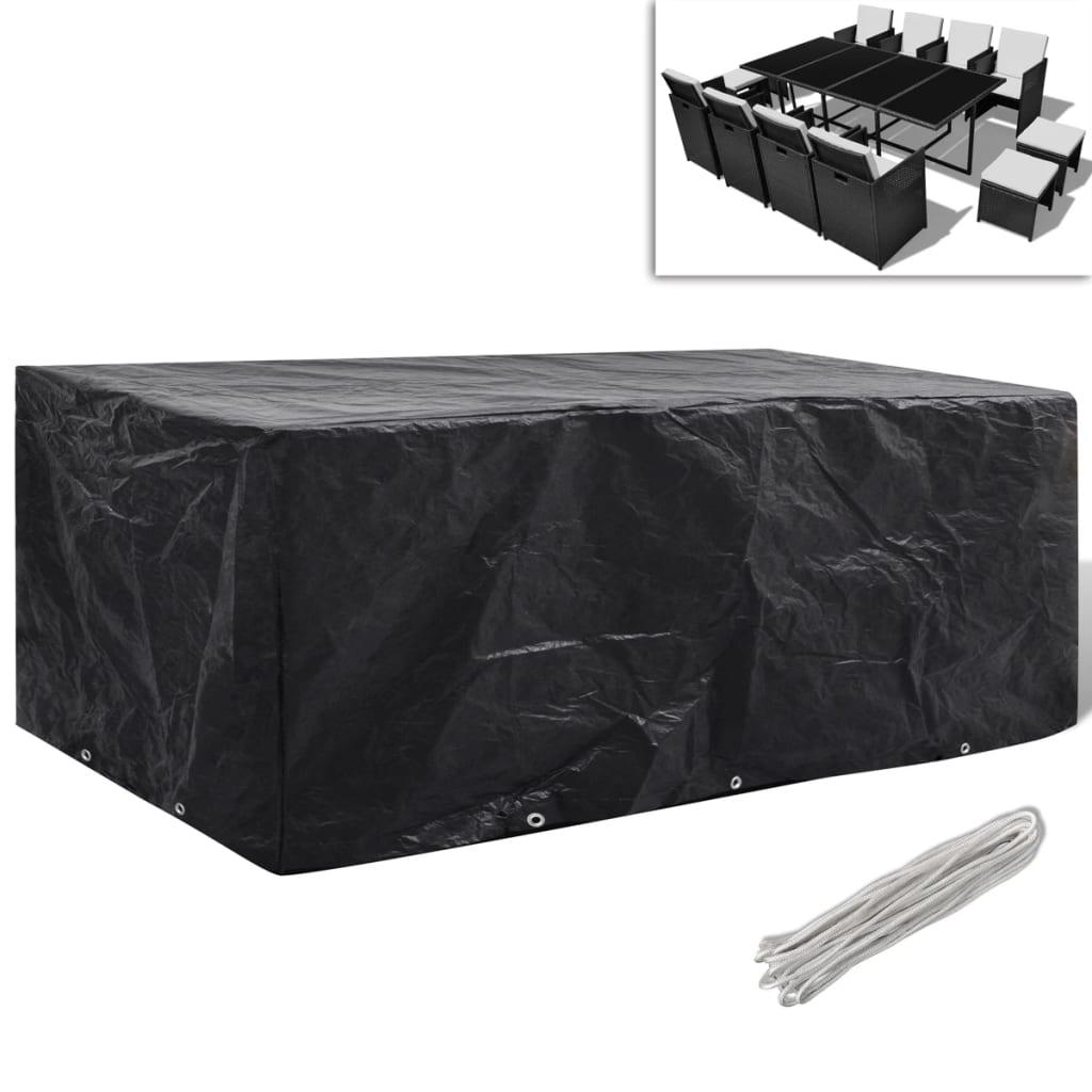 Kryt na set polyratanového nábytku pro 8 osob, 10 oček, 229 x 113 cm