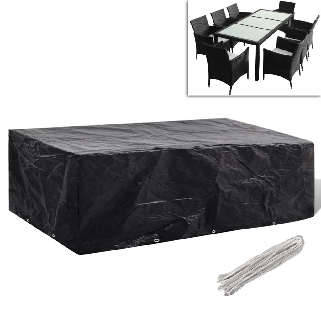 Kryt na set polyratanového nábytku pro 8 osob, 10 oček, 300 x 140 cm