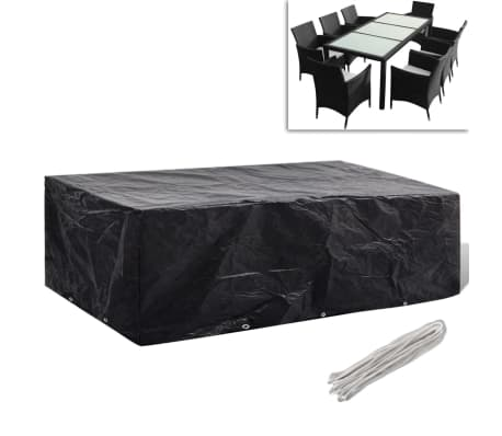 vidaxl gartenm bel abdeckung 8 personen poly rattan 10 sen 300x140 cm g nstig kaufen. Black Bedroom Furniture Sets. Home Design Ideas