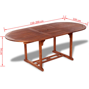 Extension Oval Wood Outdoor Dining Table Vidaxl Co Uk