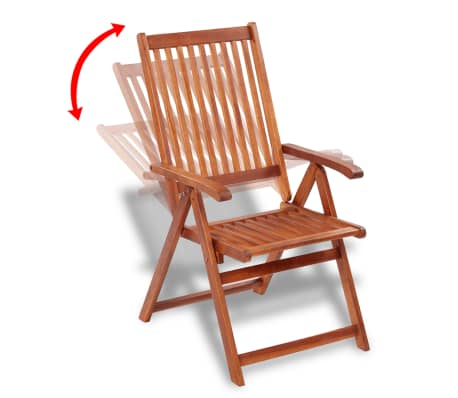 2 Wooden Folding Chairs With 5 Positions 3 9