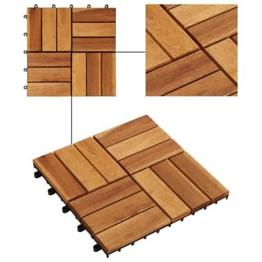 Tuile de plancher en acacia 10 pcs[3/5]