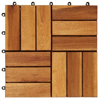 Tuile de plancher en acacia 10 pcs[4/5]