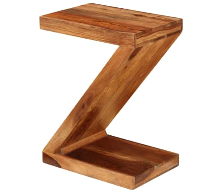 vidaXL Table d'appoint Forme de Z Bois massif de Sesham[3/11]
