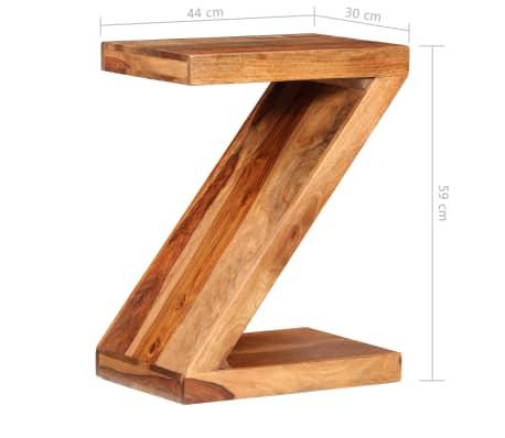 vidaXL Table d'appoint Forme de Z Bois massif de Sesham[7/11]