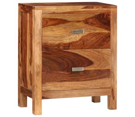 vidaXL Table de chevet avec 2 tiroirs Bois massif de Sesham