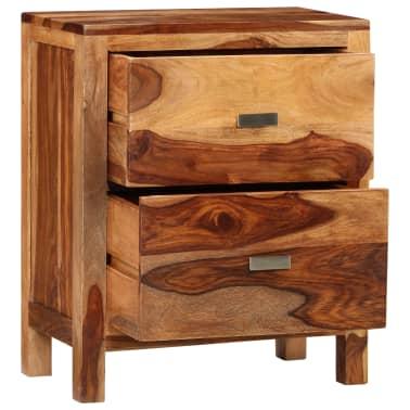 vidaxl table de chevet avec 2 tiroirs bois massif de sesham. Black Bedroom Furniture Sets. Home Design Ideas