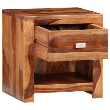 vidaXL Nightstand with 1 Drawer Solid Sheesham Wood[4/11]