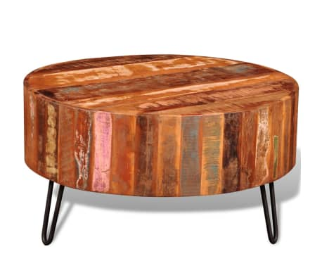 Details About Vidaxl Coffee Table Solid Reclaimed Wood Round End Side Living Room Stand