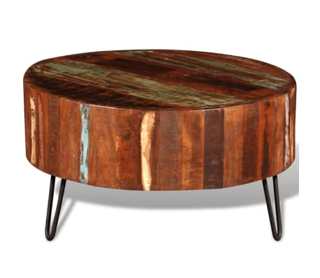 Vidaxl Coffee Table Solid Reclaimed Wood Round 3 8