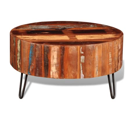 vidaXL Coffee Table Solid Reclaimed Wood Round[4/8]
