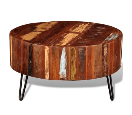 vidaXL Coffee Table Solid Reclaimed Wood Round[5/8]