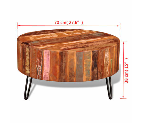 vidaXL Coffee Table Solid Reclaimed Wood Round[8/8]
