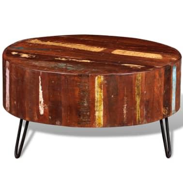 vidaXL Coffee Table Solid Reclaimed Wood Round[2/8]