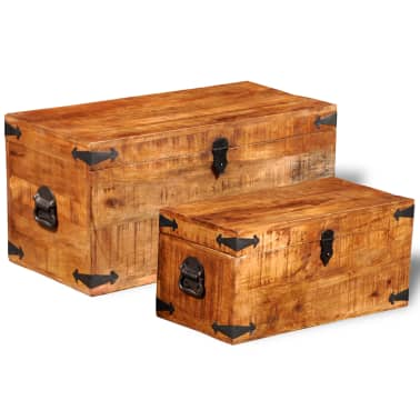 vidaXL Storage Chest Set 2 Pieces Rough Mango Wood[1/8]