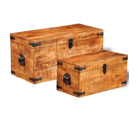 vidaXL Storage Chest Set 2 Pieces Rough Mango Wood[5/8]