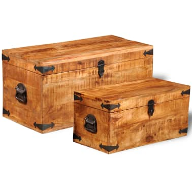 vidaXL Storage Chest Set 2 Pieces Rough Mango Wood[2/8]