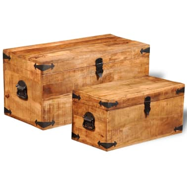 vidaXL Storage Chest Set 2 Pieces Rough Mango Wood[3/8]