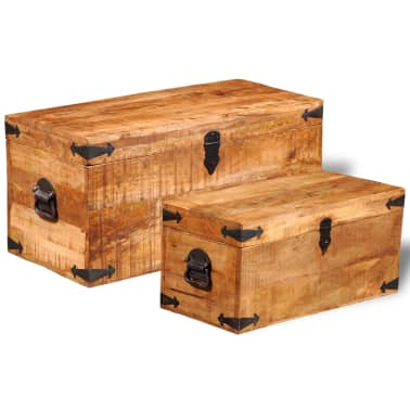 vidaXL Storage Chest Set 2 Pieces Rough Mango Wood[4/8]