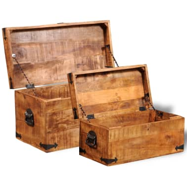 vidaXL Storage Chest Set 2 Pieces Rough Mango Wood[6/8]