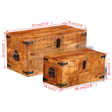 vidaXL Storage Chest Set 2 Pieces Rough Mango Wood[8/8]