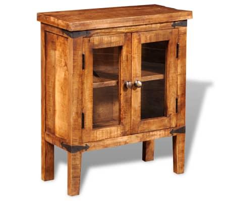 Rough Mango Wood Cabinet With Glass Doors Vidaxl