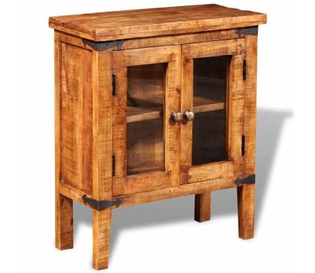 vidaXL Storage Cabinet with Glass Doors Rough Mango Wood[2/9]
