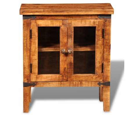 vidaXL Storage Cabinet with Glass Doors Rough Mango Wood[5/9]