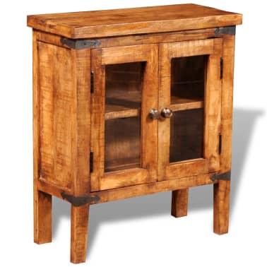 vidaXL Storage Cabinet with Glass Doors Rough Mango Wood[3/9]