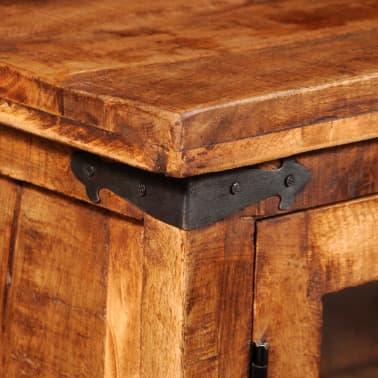vidaXL Storage Cabinet with Glass Doors Rough Mango Wood[7/9]