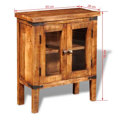 vidaXL Storage Cabinet with Glass Doors Rough Mango Wood[9/9]